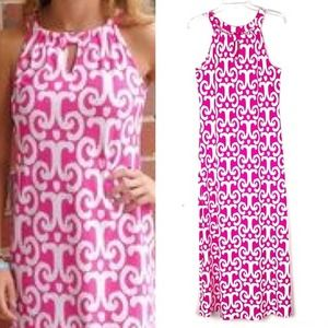 Jude Connally Pink and White Midi Dress